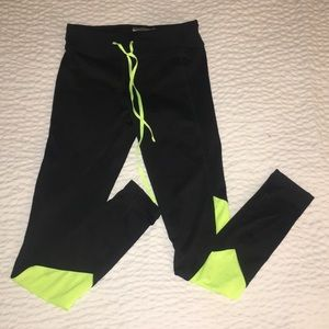 Pants - Black and Neon Green Workout Tights